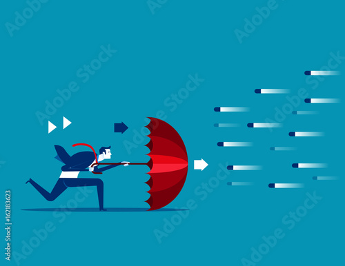 Risk averse. Businessman and umbrella to shield.Concept business vector illustration.