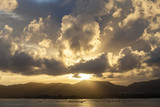 Sunset with sky ,clouds over mountain and andaman sea at phuket thailand