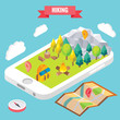 Hiking in a park isometric objects on mobile phone screen. Vector illustration in flat 3d style. Outdoor activity in mountain forest. Stay online everywhere concept illustration