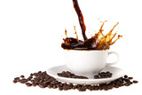 Pouring coffee into coffee cup with splashing., Isolated on white background.