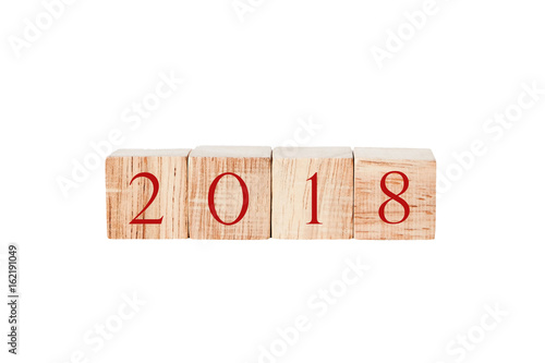 Poster 2018 on wooden cubes isolated on white background, new year concept