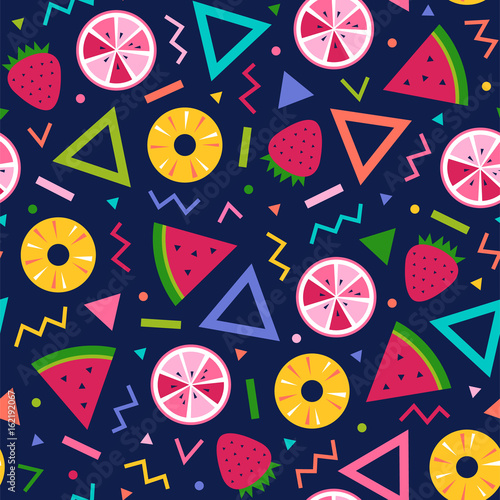 Colorful cute tropical fruit and geometric seamless pattern background - 162192067