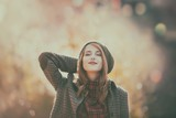 redhead woman in coat at autumn park with bokeh - 162197283