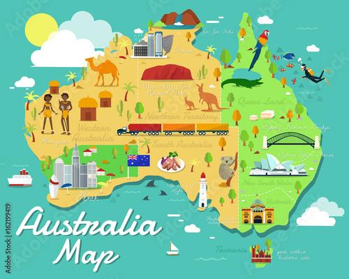 Australia map with colorful landmarks illustration design