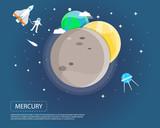 Mercury Venus and Earth of solar system illustration design - 162199839
