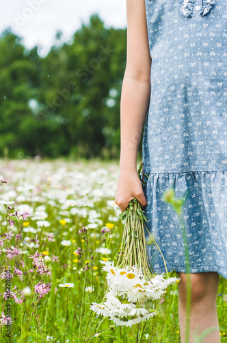 The girl in a blue dress holds a bouquet of white daisies in hand Poster