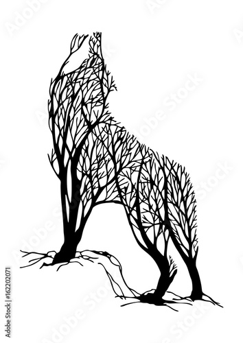 Fototapeta  Mysterious aggressive Wolf howl silhouette double exposure blend tree drawing tattoo vector