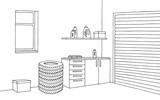 Garage graphic black white interior sketch illustration vector - 162203059