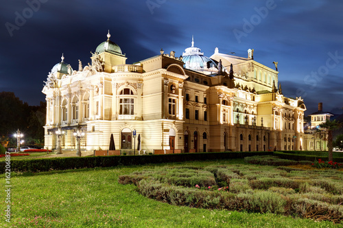 Juliusz Slowacki Theatre by night in Krakow, Poland, Eclectic style 19th century architecture.