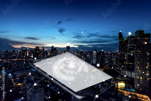 communication technology in city abstract conceptual - 162207020