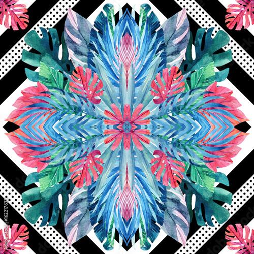 Fototapeta Watercolor tropical leaves symmetric arrangement on geometrical background.