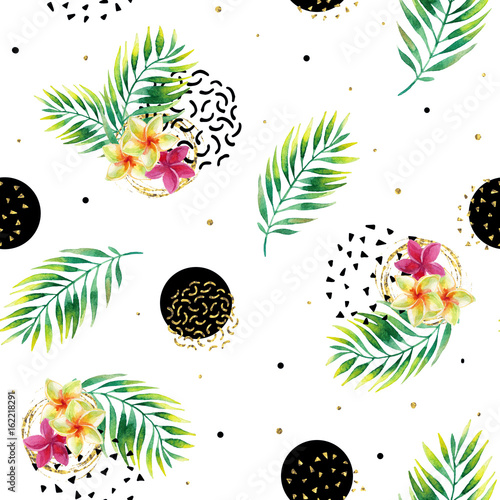 Obraz na Szkle Watercolor exotic flowers and abstract texture circles background.