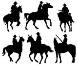 cowboy riding a horse - set of black vector silhouettes on white - 162218630