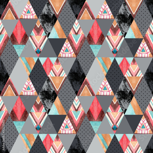 Watercolor ornate rhombuses seamless pattern. - 162218607