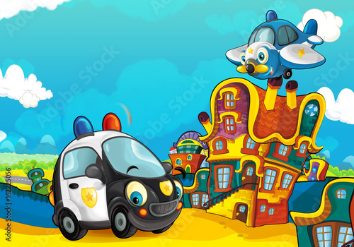 Cartoon police car smiling and looking in the parking lot and plane flying over - illustration for children - 162225056