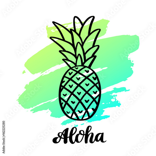 "Pineapple with the handwriting inscription:  ""Aloha"" in a trendy calligraphic style Poster"