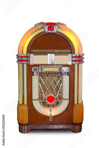 Plakat Real vintage jukebox retro music player isolated on white background