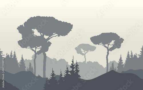 Nature landscape background with foggy sunrise, mountains and trees. Vector illustration.