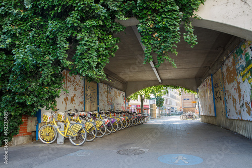 City bicycle rental station in the residential quarter. Vienna, AUSTRIA