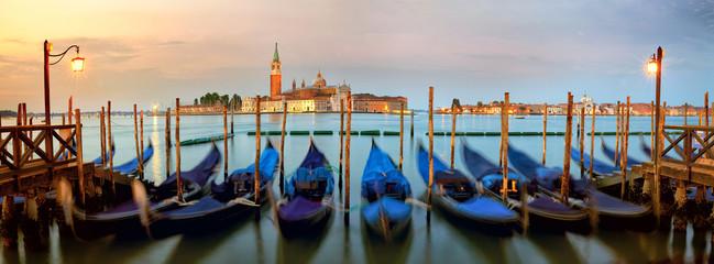 Traditional gondolas with San Giorgio Maggiore church, San Marco, Venice, Italy