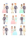 Wedding couples vector set of flat characters