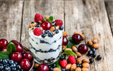 Healthy yogurt with fruits or sundae ice cream in a cup, summer dessert concept - 162236839