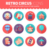 Retro circus icons set for web and graphic design