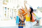 Fototapety Beautiful Young Woman Having Fun in Shopping