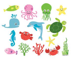 Cute vector sea creatures. Colorful cartoon illustrations of fish, octopus . turtle, starfish. © mgdrachal