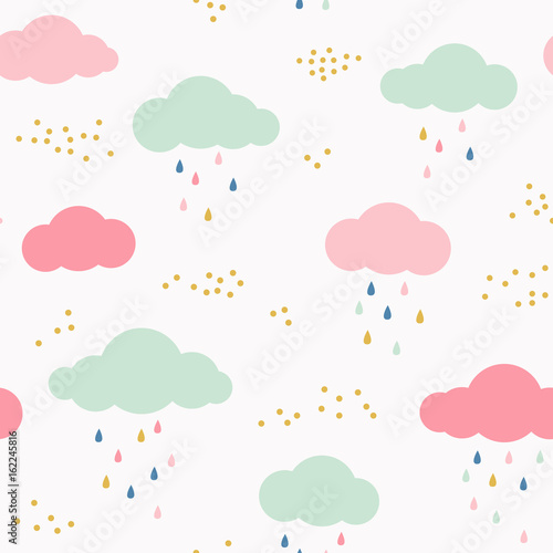 Vector kids pattern with clouds, rain drops and dots. Cute scandinavian seamless background in mint, pink, yellow and gray. - 162245816