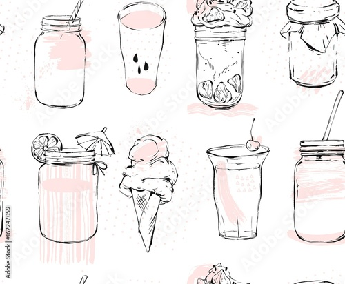 Hand drawn vector graphic seamless pattern with ice cream,glass jar,smoothie,milkshake,lemonade,jam and coctails isolated on white background.Freehand kitchen cook book icons,dessert and drinks. - 162247059