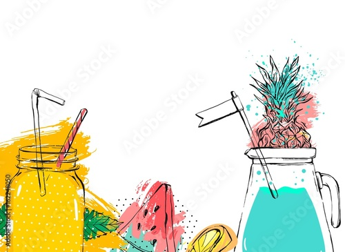 Hand drawn vector abstract fruit detox background with glass jar,watermelon,lemonade,mint leaves,pineapple and watercolor freehand textures isolated on white background - 162248050