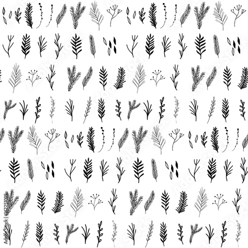 Materiał do szycia Floral seamless pattern with hand drawn pine and fir trees twigs and leaves.