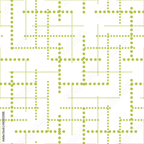 Abstract geometric dot lines seamless vector pattern. Green and white simple dashed shapes background for website wallpaper or paper print. - 162253008