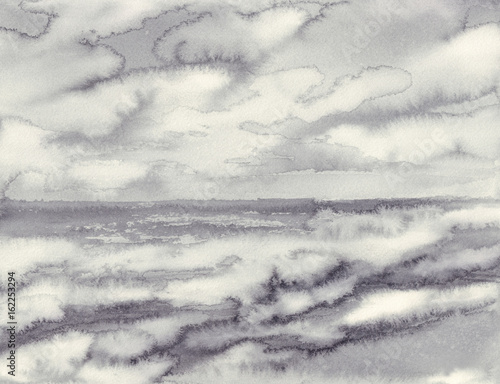 morning mist by the sea black white watercolor background - 162253294