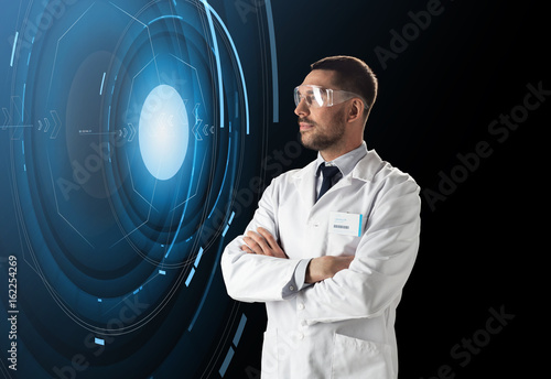scientist in lab goggles with virtual projection