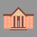 flat icon on stylish background courthouse - 162256001