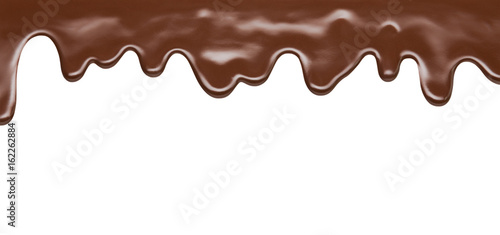 melting chocolate on white background