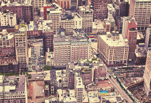 Aerial picture of Manhattan, color toning applied, New York City, USA.