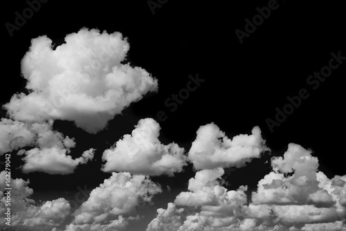 Black sky and white clouds isolated