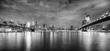 Brooklyn Bridge and Manhattan Bridge at night, New York City, USA. © MaciejBledowski