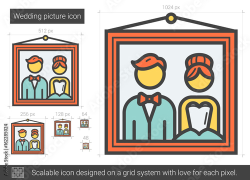 Wedding picture line icon.
