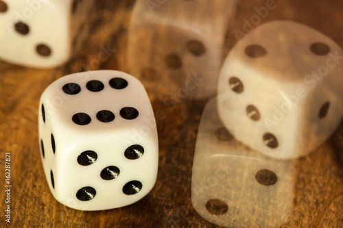 Dices in table плакат