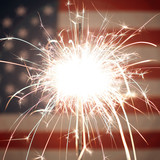 USA American flag lit up by sparklers for 4th of July celebrations - 162290283