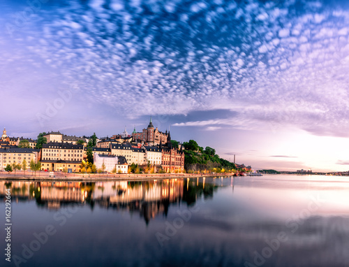 Scenic Stockholm City Old Town Sunset Skyline. Panoramic montage from 12 images