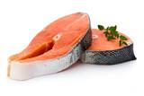 salmon steak close-up isolated on white background - 162295497