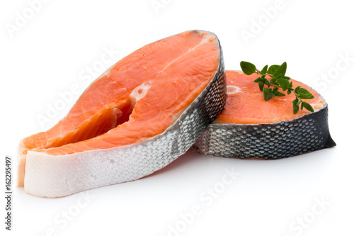 Fotobehang Steakhouse salmon steak close-up isolated on white background