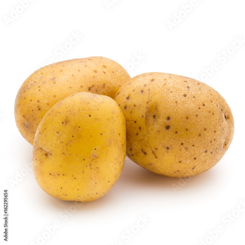 Raw potato isolated on white background.