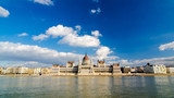Beautiful view of the Parliament on the Danube in Budapest Hungary.