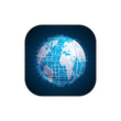 Vector modern techology icon on white background. global world backdrop.